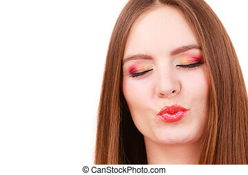 Woman face colorful eyes makeup