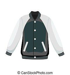 Uniform baseball jacket. Baseball single icon in monochrome...