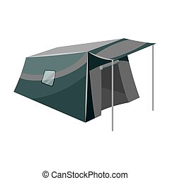 Tent with awning.Tent single icon in monochrome style vector...