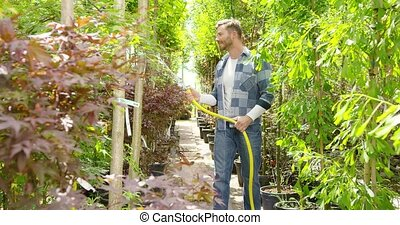 Man watering plants in garden - Horizontal outdoors shot of...