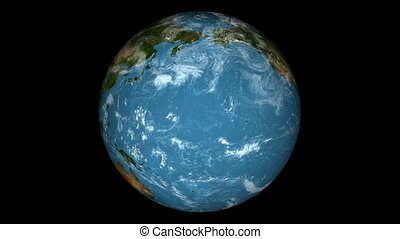 Seamless Loop Earth Animation 11. Alpha matte. Natural...
