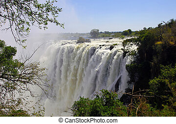 Victoria Falls - View of the east cataract, Victoria Falls,...
