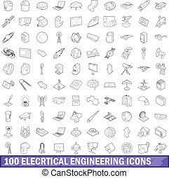 100 electrical engineering icons set outline