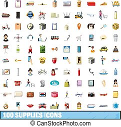 100 supplies icons set, cartoon style