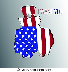 Uncle Sam want you silhouette. Vector illustration