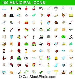 100 municipal icons set, cartoon style - 100 municipal icons...