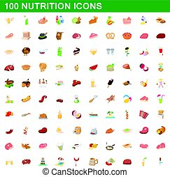 100 nutrition icons set, cartoon style - 100 nutrition icons...