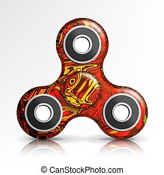 Spinner Toy Vector. Bright Plastic Fidgeting Hand Toy For...