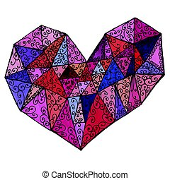 Multicolored Geometric Jewel Tone Heart Illustration