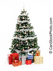 Christmas tree on white with presents - Artificial christmas...