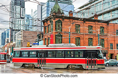 City tram in Toronto, Queen St West - Spadina Ave
