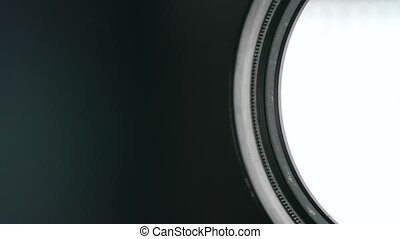 Camera lens zoom. Changing focal length. Front view macro...