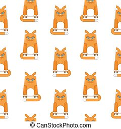 red cat seamless pattern