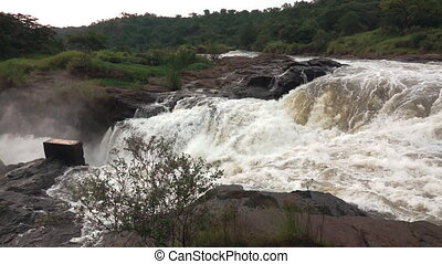 Top of Murchison falls in super slow motion - Wide angle...
