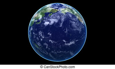 Seamless Loop Earth Animation 12. Alpha matte. Natural...