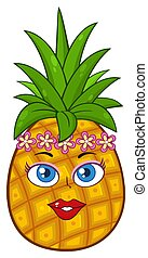 Pineapple Fruit Cartoon Mascot Character Woman Face With...