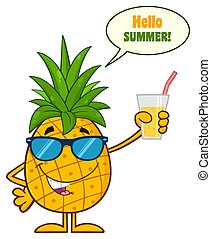 Pineapple Fruit With Green Leafs And Sunglasses Cartoon Mascot Character Holding Up A Glass Of Juice