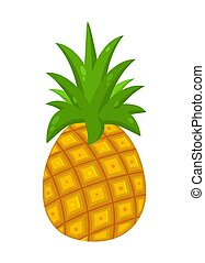 Pineapple Fruit With Green Leafs Drawing Flat Simple Design....