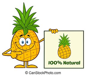 Smiling Pineapple Fruit With Green Leafs Cartoon Mascot...