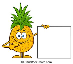 Smiling Pineapple Fruit With Green Leafs Cartoon Mascot Character Pointing To A Blank Sign