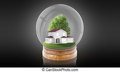 Transparent sphere ball with modern white house inside. 3D...