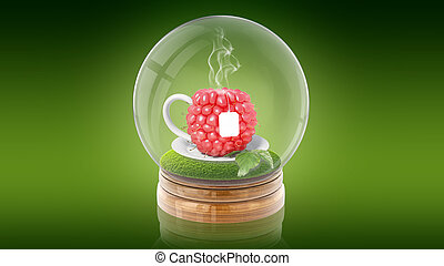 Transparent sphere ball with raspberry cup of tea inside. 3D rendering.