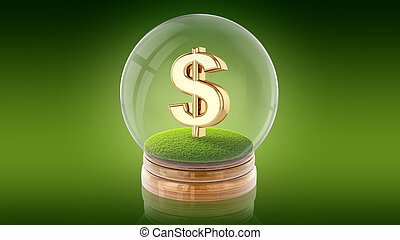 Transparent sphere ball with dollar sign inside. 3D rendering.