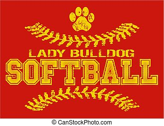 lady bulldog softball - distressed lady bulldog softball...