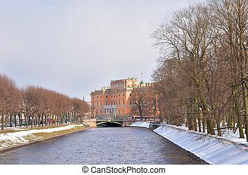 The Mikhailovsky Castle and Moyka River. - The Mikhailovsky...
