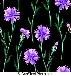 Seamless pattern with colorful cornflowers. Vector...