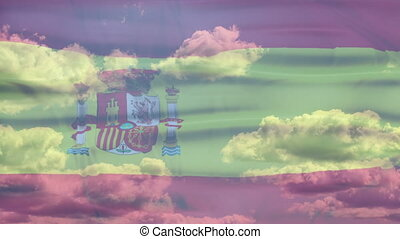 Spain Sky Flag - Waving flag of Spain, red and yellow...
