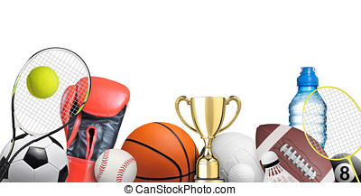 Set of sport items isolated on white background