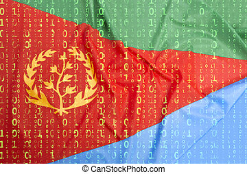 Binary code with Eritrea flag, data protection concept -...