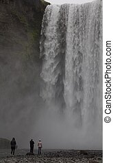 Skogarfoss Waterfall in South Iceland, one of the most...
