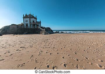 Chapel Senhor da Pedra on Miramar Beach (Praia de Miramar),...