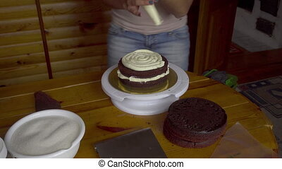 Cooking cake in the home - The confectioner squeezes the...