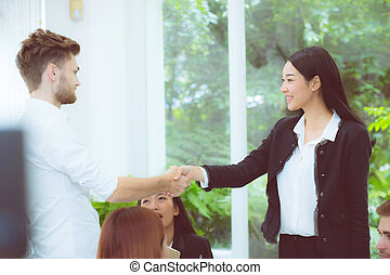 business people colleagues handshake with success during...