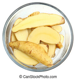 Fingerling Potatoes sliced in bowl over white.