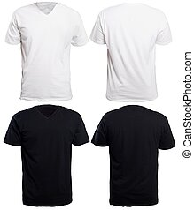 Black and White V-Neck Shirt Mock up - Blank v-neck shirt...