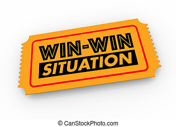 Win-Win Situation Ticket Lucky Result Good Outcome 3d Illustration