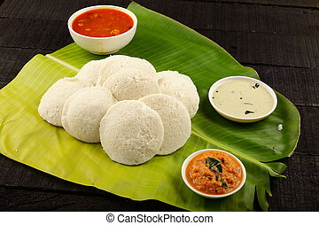 Healthy breakfast- Idli served in banana leaf - Homemade...