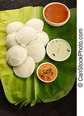 Top view- South Indian food- idli. - Homemade traditional...