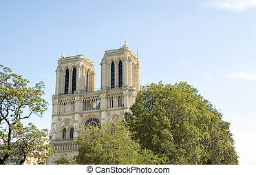 Notre Dame Cathedral in Paris France - Afternoon image of...