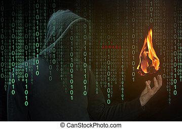 Hacker show a fireball on hand, Fireball Adware concept -...
