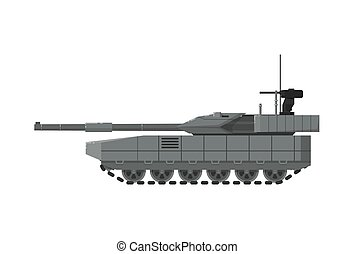 Modern army tank isolated icon. Military technics object,...
