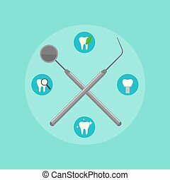 Dental instruments crosswise on color background - Dental...