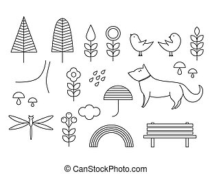 Walking on the open air. Hand drawn elements in Scandinavian...