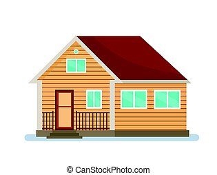 Wooden house, a cottage on a white background.