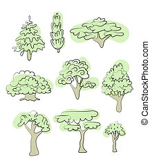 Set of various trees. Vector illustration, isolated on white.