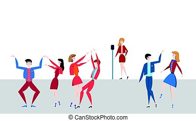 Female singer at the microphone on stage and dancing people. Vector illustration in flat style.